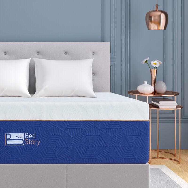 Queen Size Gel Memory Foam Mattress BedStory 12Inch CertiPUR-US  Lavender Bed
