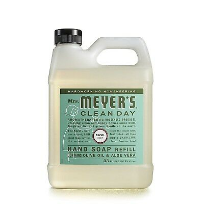 (Mrs Meyers Liquid Hand Soap Refill Natural Essential Oil Basil Scent Body 33 Oz.)