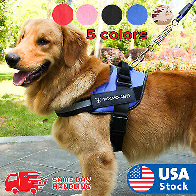 Dog Harness walk No Pull Vest tactical Heavy Duty K9 Handle collar Service Patch ()