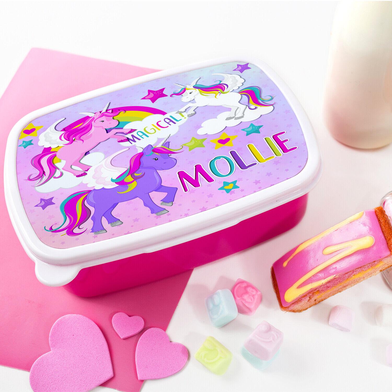 Personalised Girls UNICORN Lunchbox School Snack Sandwich Pink Lunch Box KS152
