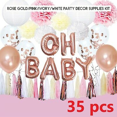 Rose Gold Baby Shower Decorations for Girl OH Baby Banner Garland Lantern Buntin - Lantern Garland