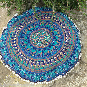 Indian Round Mandala Floor Cushion Bohemian Floor Cushion Cover Elephant Mandala