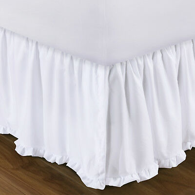 COTTAGE WHITE Twin Full Queen King BEDSKIRT : COUNTRY DUST RUFFLE SHABBY SKIRT - Cottage White Queen
