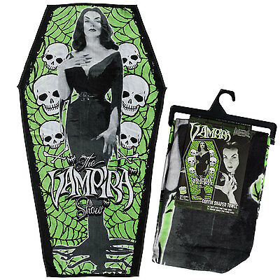 Kreepsville Vampira Maila Nurmi 1950's Coffin Beach Towel Goth Punk HWCBTV