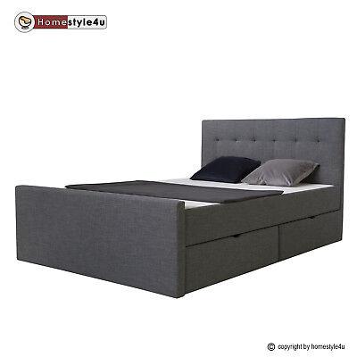 Polsterbett Doppelbett Stoffbett Bettgestell 140 x 200 mit Bettkasten Lattenrost