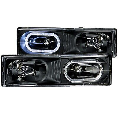 ANZO CRYSTAL HEADLIGHTS BLACK WHALO FITS 1988-1998 CHEVROLET C1500 111007