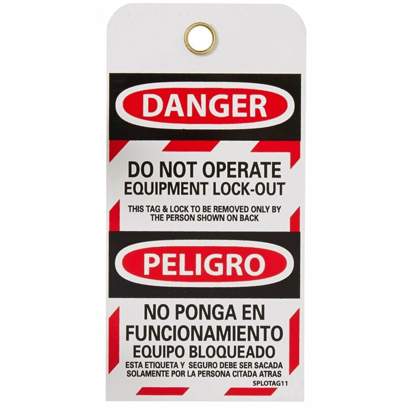 """""""Danger Do Not Operate Equipment Lock-Out"""" 6""""x3"""" Tag, Bilingual"""