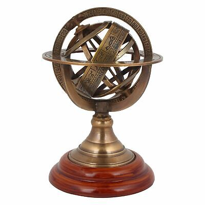 Antique Nautical Brass Sphere Armillary Collectible Wooden Base Room Decor Gift