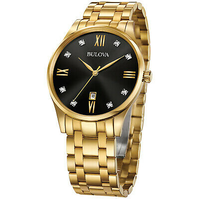Bulova Men's Quartz 8-Diamond Black Dial Date Calendar 40 mm Watch 97D108