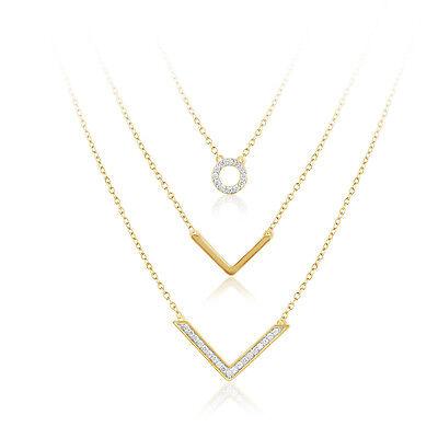 - IGI 10k Diamond Gold Chain Multi Triple Layer Necklace Arrow Circle Pendant 1/4C