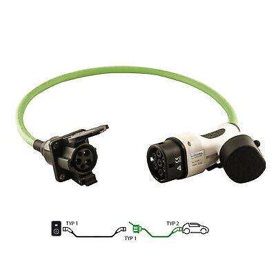 Wallbox 24 Adapter Typ 1 Buchse zu Typ 2 Stecker 32A 1 Phasig 30cm für Ladegerät
