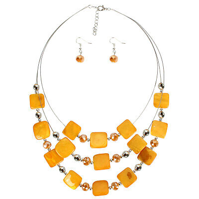Colorful Multi Layer Shell Crystal Beaded Strand Statement Earrings Necklace Set