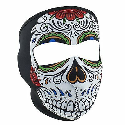 Muerte Sugar Skull Day of Dead Neoprene Full Face Mask Biker Costume Rainbow