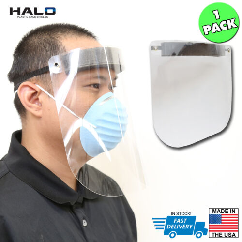 The HALO Plastic Reusable Full Face Shield Mask, Clear, Splash Proof