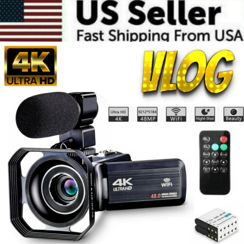 Camcorder Video Camera Ultra HD 4K 48MP Camcorder Camera VLOG Microphone Remote