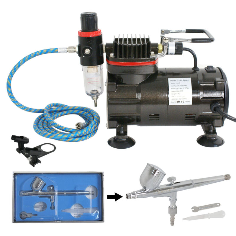 AIRBRUSH SET & AIR COMPRESSOR 0.3 Master DUAL ACTION KIT Paint Hobby Cake Tattoo