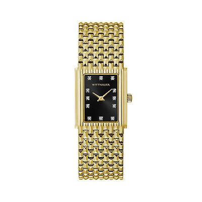 (Wittnauer Women's WN4092 Quartz Diamond Accents Black Dial Gold-Tone 25mm Watch)