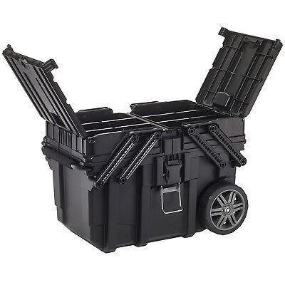 Mobile Profi Werkzeug Box Koffer Wagen Keter Toolbox Teleskopgriff 2 Fächer NEU