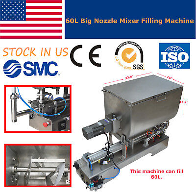 100-1000ml Paste Filling Machine Peanut Butter Piston Mixer Hopper Filler