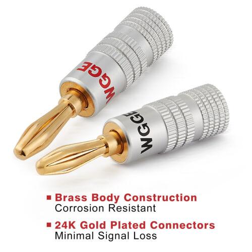 WGGE WG-009 Banana Plugs Audio Jack, 24k Gold Dual Screw Lock Speaker (5 Pairs )