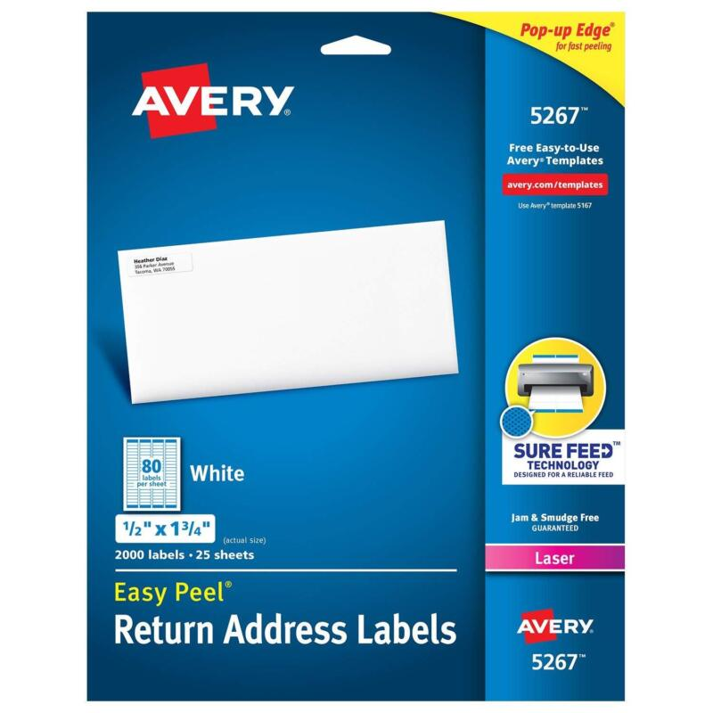 Easy Peel Address Labels Sure Feed for Laser Printers Pack O