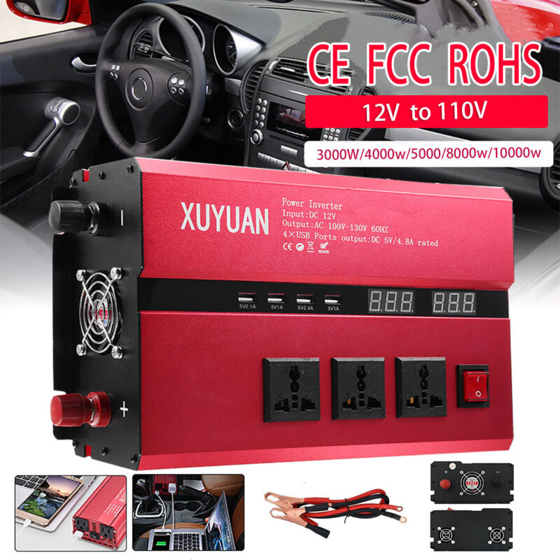 3000~10000W Car Power Inverter DC 12V To AC 110V Charger Con