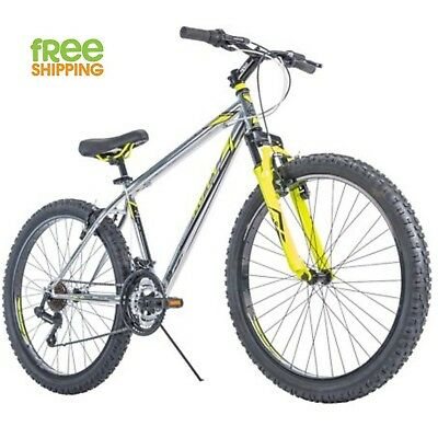 "Huffy Mountain Bike 26"" Men 21 Speed Shimano Disk Brake Bicycle Silver New!"