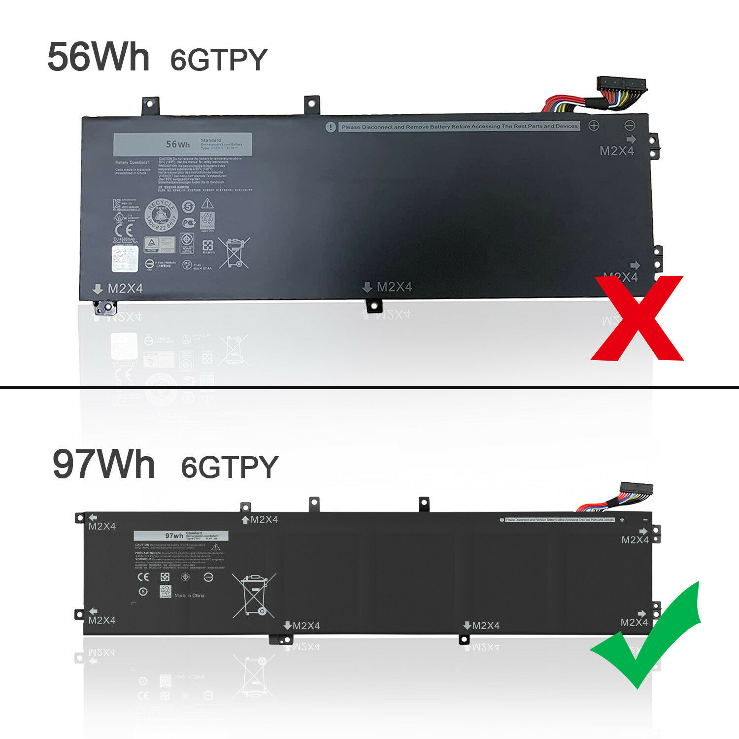 6GTPY Laptop Battery 11.4V 97Wh For Dell XPS 15 9570 9560 9550 7590 5XJ28 5D91C - $45.88