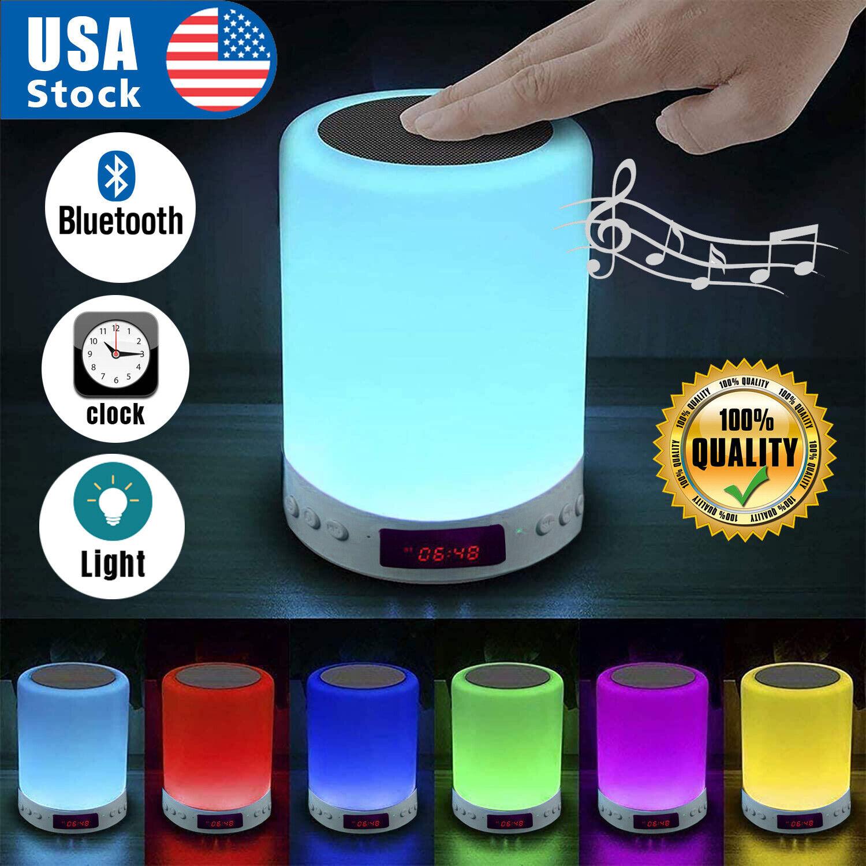 Wireless Bluetooth Speaker LED Touch Night Light Alarm Clock USB Rechargeable US Audio Docks & Mini Speakers