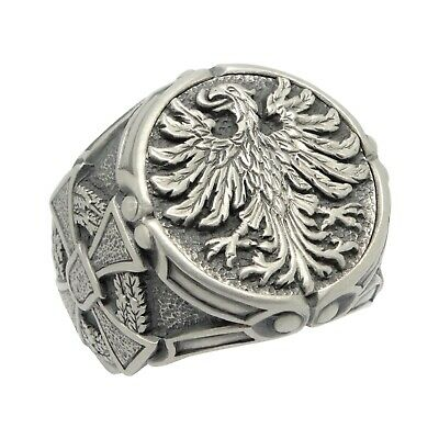 German eagle sterling silver 925 biker cross mens ring , US sizes