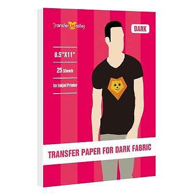 Inkjet Printable Iron-on Heat Transfer Paper Dark Color 25 Sheets 8.5x11 T-shirt