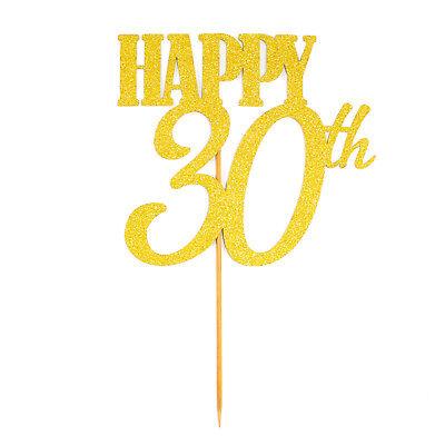 Torten Kuchen Topper Aufsatz Happy 30th Geburtstag - Gold - Jubliäum Deko