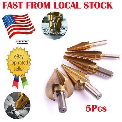 5pc Titanium Coated Step Down Drill Bit Variable Size Steel Unibit Tool Set Inus