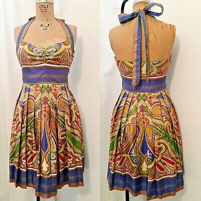 Nicole Miller 4 Silk Twill Paisley Border Print Sweetheart Halter Summer Dress Silk Border Print Dress