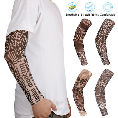 For Men Women Tattoo Cooling UV Sun Protection Arm Sleeves Golf Sports Outdoor ()