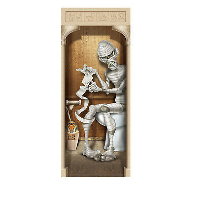 HALLOWEEN MUMMY RESTROOM DOOR COVER POSTER PARTY WALL DECORATION TOILET EGYPTIAN