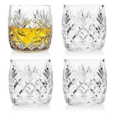 Whiskey Glasses Set of 4 Crystal Drinking Scotch Bourbon DOF Glass Bar Rocks Cup