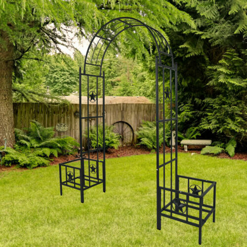 Metal Arbor with Planters Garden Arch Trellis for Climbing Plants Lawn Backyard