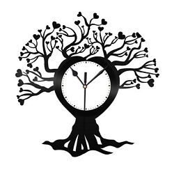 Family Tree Vinyl Wall Clock Record Unique Tree Design Office Home Decoration