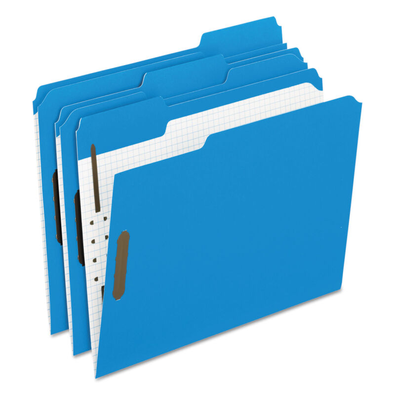 Pendaflex Colored Folders With Embossed Fasteners 1/3 Cut Letter Blue/Grid