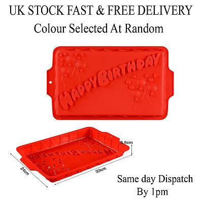 Silicone Large Happy Birthday Mould Cake Muffin NonStick Baking Bakeware Tray UK