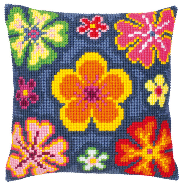 Bright Flower  :Vervaco Chunky Cross Stitch Cushion Kit - PN0008496