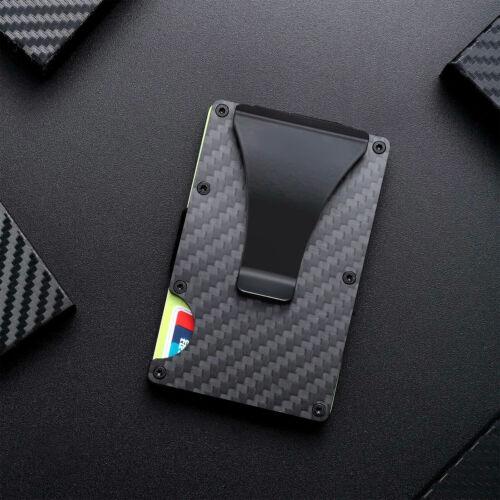 RFID Blocking Carbon Fiber Minimalist Money Clip Front Pocket Mens Wallet