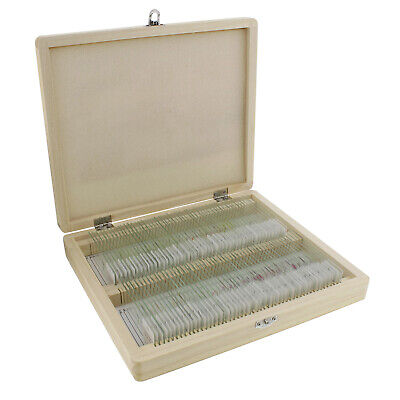 Monmed Prepared Microscope Slides - 100 Pc Plant Sample Kit With Wooden Box
