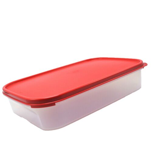 Tupperware Clear Storage Container Modular Mates #1 Rectangle Red Seal 8.5 Cup