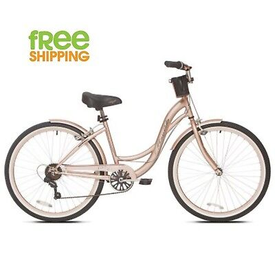 "Kent Cruiser Bike 26"" Women Comfort Beach Bicycle Shimano 7 speed Rose Gold New!"