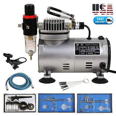 Pro Master Airbrush Compressor Multi-Purpose Airbrushing System W/ 3 Airbrushes