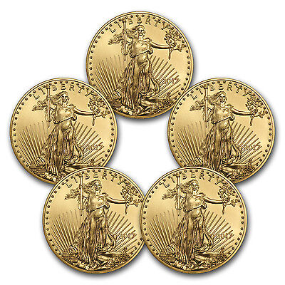 2017 1 oz Gold American Eagle Brilliant Uncirculated (Lot of 5) - SKU #117469