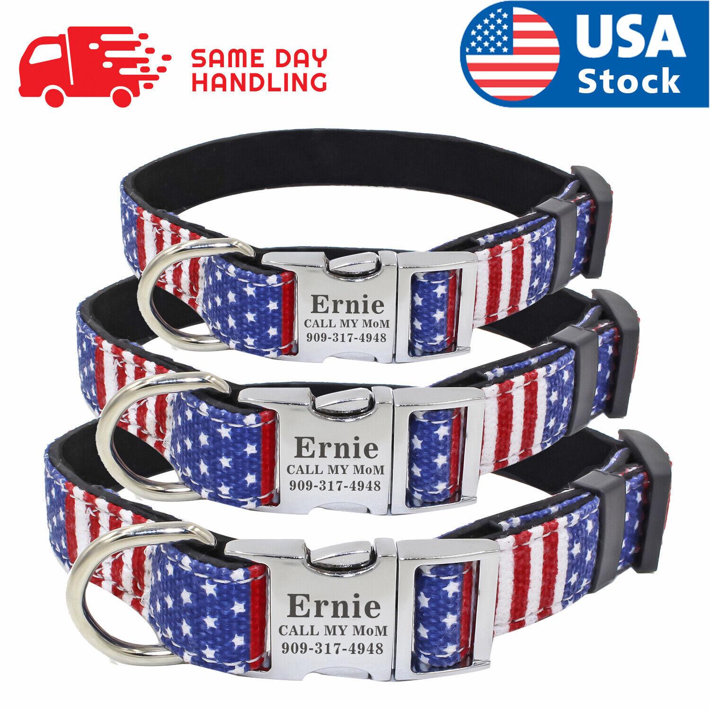 Custom USA Flag Dog Collar with personalized dog name plate tag ID Collars