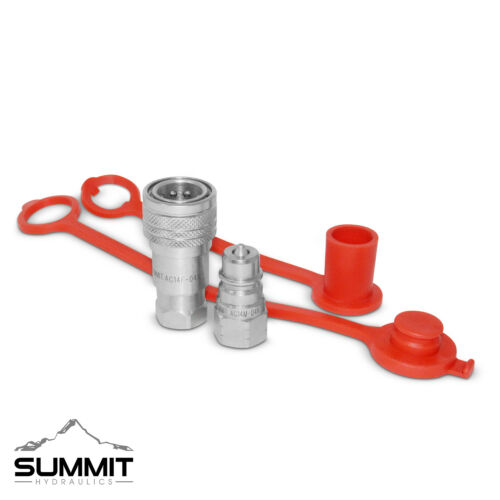 """1/4"""" NPT ISO 5675 Ag Hydraulic Quick Connect Pioneer Style Coupler Set"""
